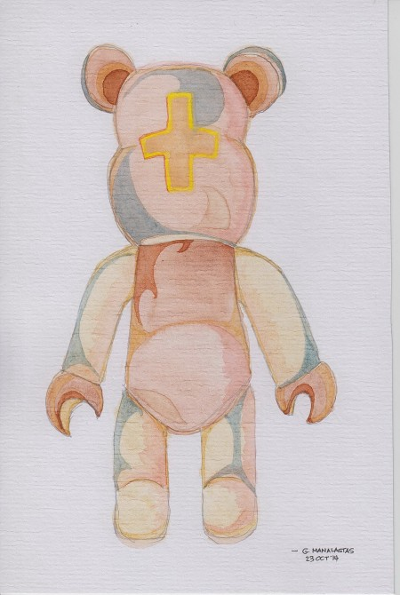 'Bearbrick' (watercolor on laid paper)